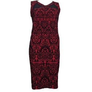 ECI Beige red & black flock sheath dress, 16W